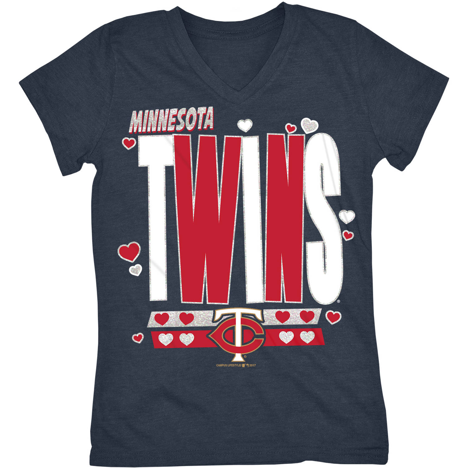 MLB Minnesota Twins Girls Short Sleeve Team Color Graphic Tee