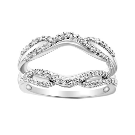 White Natural Diamond Solitaire Enhancer Guard Engagement Ring in 10k White Gold (1/3 Cttw)