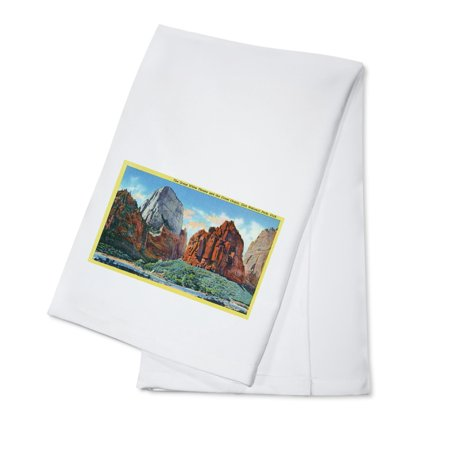Zion National Park, Utah - View of the Great White Throne and the Great Organ (100% Cotton Kitchen Towel)