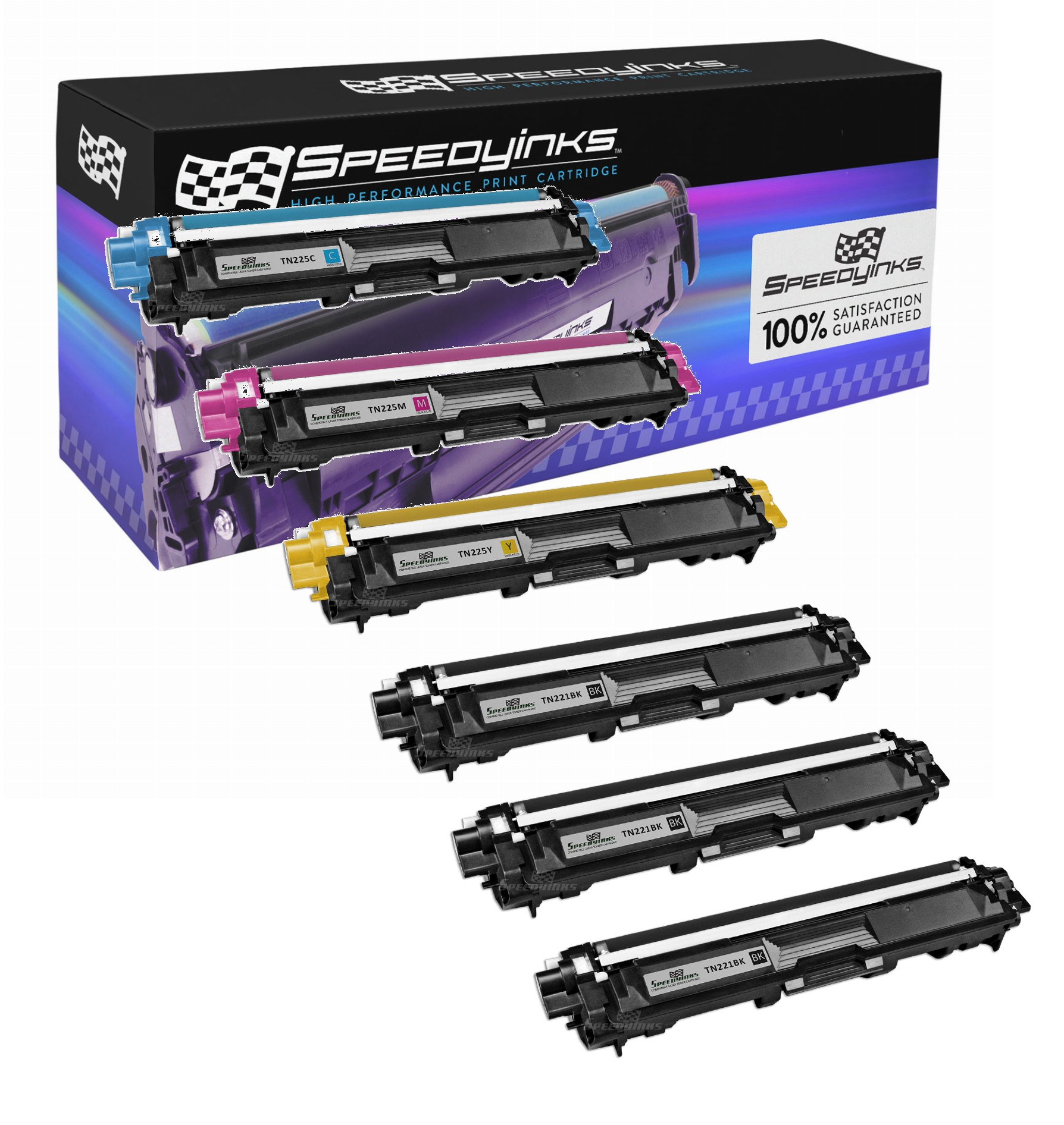 SpeedyInks - Brother Compatible TN221 / TN225 Toner Cartridge 3 Black TN221BK, 1x Cyan TN225C, 1 Yellow TN225Y, 1 Magenta TN225M for HL-3140CW, HL-3170CDW, MFC-9130CW, MFC-9330CDW & MFC-9340CDW