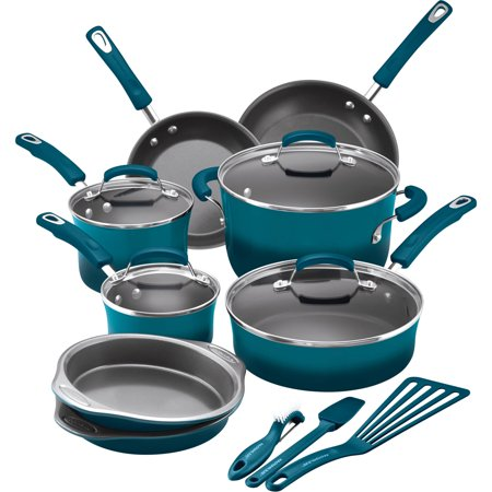 (Rachael Ray 15 Piece Hard Enamel Aluminum Nonstick Cookware Set, Marine Blue)