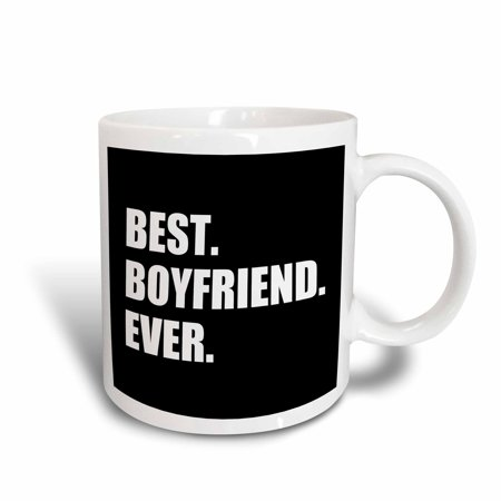 3dRose Best Boyfriend Ever white text on black - anniversary valentines day, Ceramic Mug,