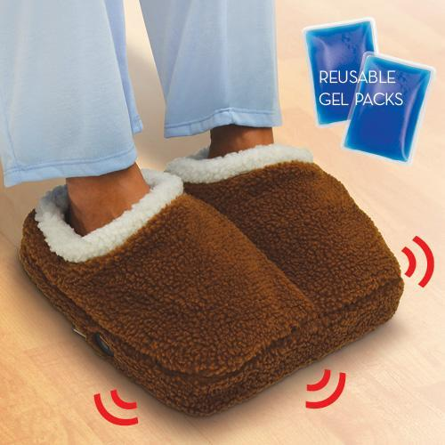 Cordless Battery Operated Sherpa Foot Vibrating Hot Cold Therapy Massager