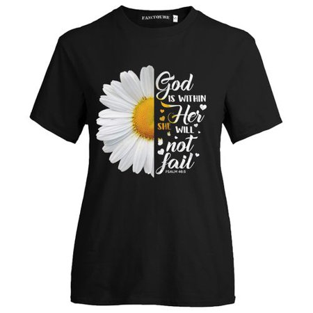 SHOPFIVE Daisy Letter Print Short Sleeve T-Shirt Summer Cute Round Collar Thin Casual T-Shirt Print Couple Gift Shirt Top Comfortable T-Shirt (Style Round Collar Letter)