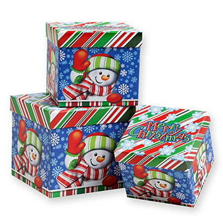 3 Piece Christmas Nesting Gift Boxes; Cheerful Snowman ...