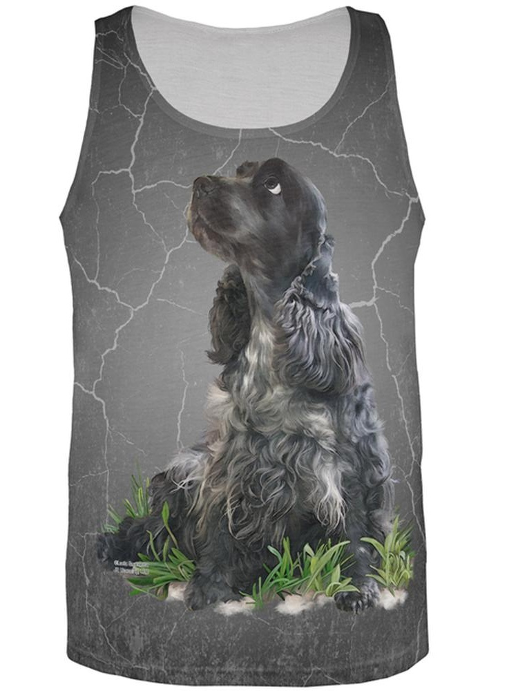 Cocker Spaniel Live Forever All Over Adult Tank Top