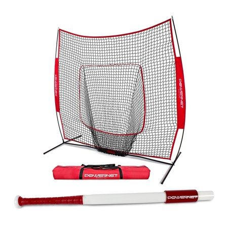 PowerNet 7x7 Baseball Softball Practice Net Bundle w/ Sweet Spot Training (Sweet Spot Training Bat)