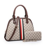 POPPY Women's Faux Leather Top Handle Satchel Handbag With Matching Wallet Business Tote Shoulder Bag 2pcs/Set
