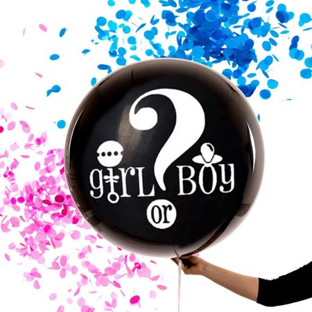 "Gender Reveal Balloon – GIANT 36"" XL Balloon - Includes Pink and Blue Confetti – Boy or Girl – Gender Reveal Party Decorations - Gender Reveal Confetti - Halloween Party Decorations Rental"