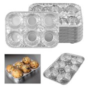 20 Pc Aluminum Foil Muffin Pan 6 Cavity Cake Mold Cupcake Disposable Container