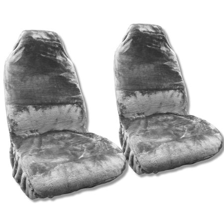 Synth Sheepskin Seat Cover Pair GRAY PLUSH Fleece For Jeep Liberty Low Back (Liberty Set)