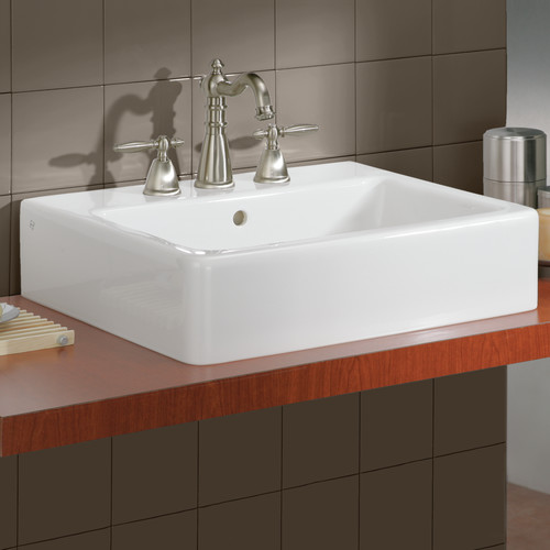 Cheviot Products Nuovella Ceramic Rectangular Vessel Bathroom Sink With  Overflow