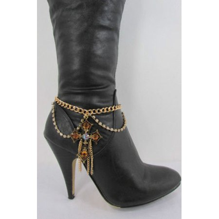 New Western Gold Metal Boot Chain Single Strap Big Cross Rhinestones Shoe Charm