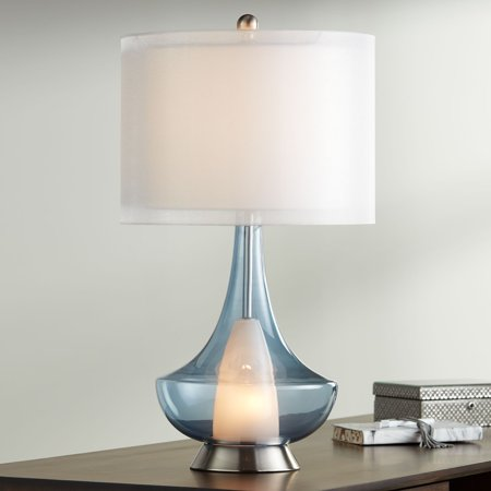 Possini Euro Design Modern Table Lamp with Nightlight Blue Glass Double Sheer White Drum Shade for Living Room Family Bedroom