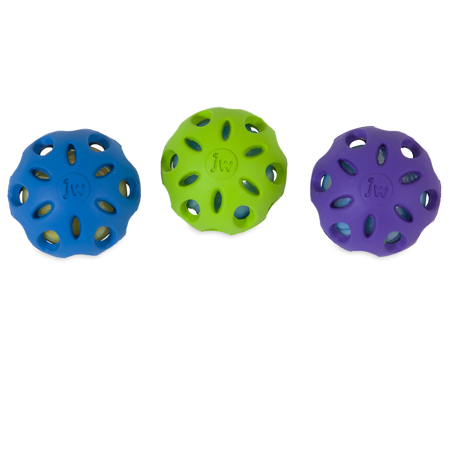 Jw Crackle Heads Crackle Ball Small The JW Pet Company Crackle Ball provides endless crackling and chewing fun for dogs. The recyclable plastic bottle material inside the Crackle Ball gives a satisfying crunch as dogs chew. The ball is made of non-toxic, natural rubber with a patented seamless design for extra durability. The rubber material and outer holes around the ball provide better grip for dogs when playing fetch. The Crackle Ball is safe and gentle on dogs mouth, with no caps or rings on the plastic bottle. The ball is available in three sizes, small, medium and large, in order to accommodate all types of dogs. The assorted bright colors provide increased visibility for pets and pet parents.