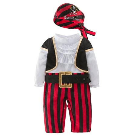 6 Month Baby Boy Halloween Costumes (Infant Baby Boy Cap'N Stinker Pirate Halloween Costume 4 pcs Set (80/12-18)