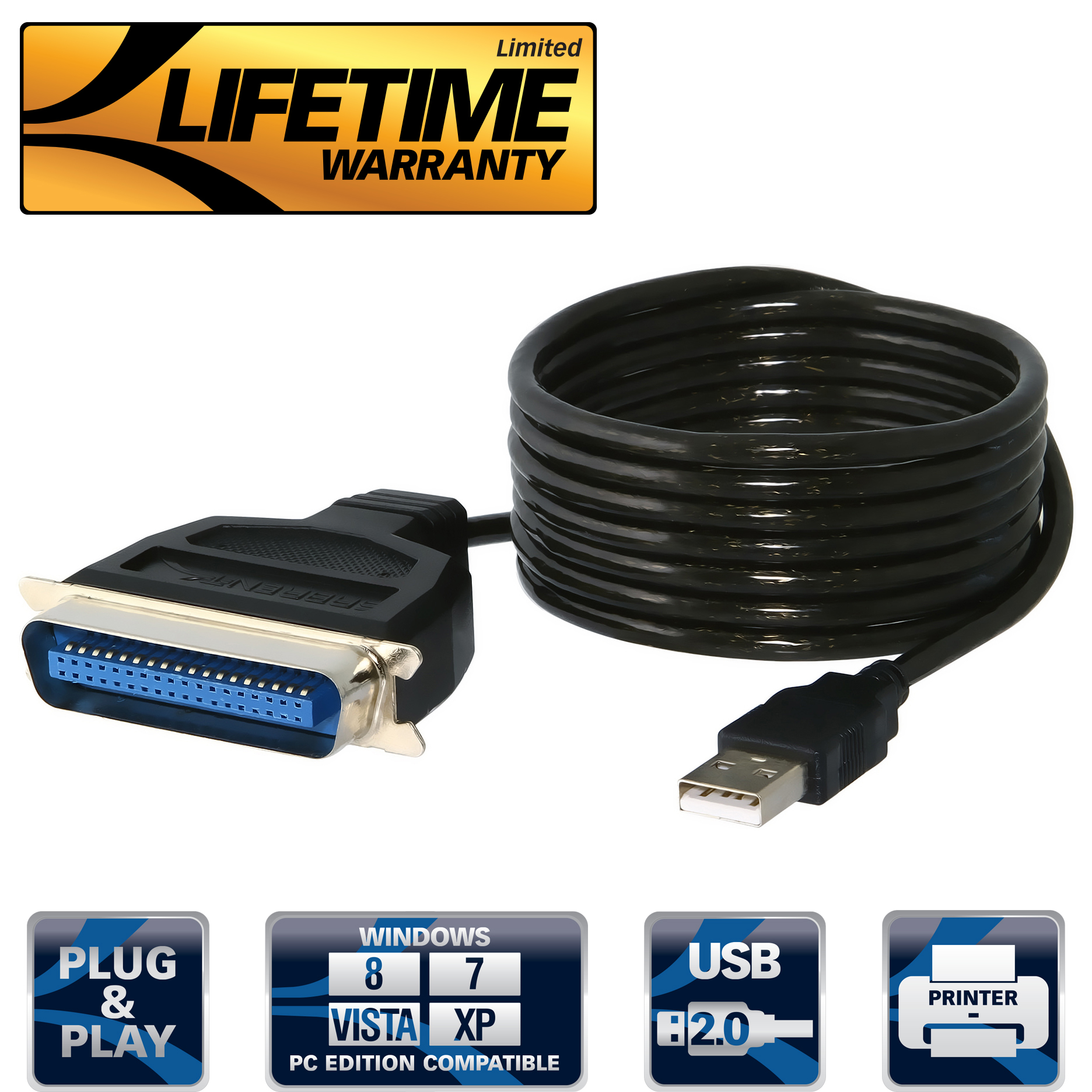 Sabrent USB to Parallel IEEE 1284 Printer Cable Adapter (CB-CN36) -  Walmart.com