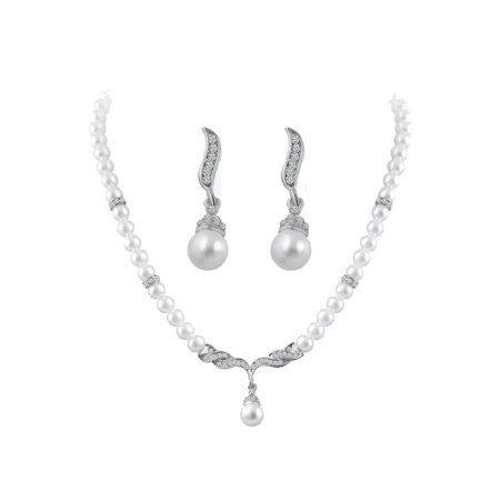 Crystals Angel Wings Pearl Beads Jewelry Choker Pendants Necklaces Earrings Sets (Beaded Set Necklace)