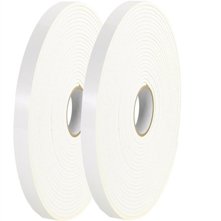 Tape Logic Double Sided Foam Tape 1 x 36 yard 1 16 Thick White 2 Pack
