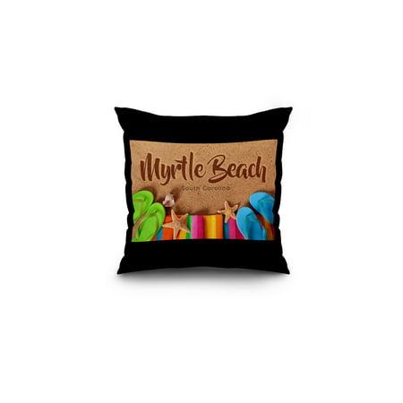 South Carolina Flip Flops - Myrtle Beach, South Carolina - Flip Flops on Beach - Lantern Press Photography (16x16 Spun Polyester Pillow, Black Border)