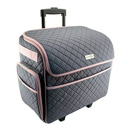 Everything Mary Large Rolling Sewing Machine Tote - Pink   Grey - Walmart .com 6b007d72db7aa