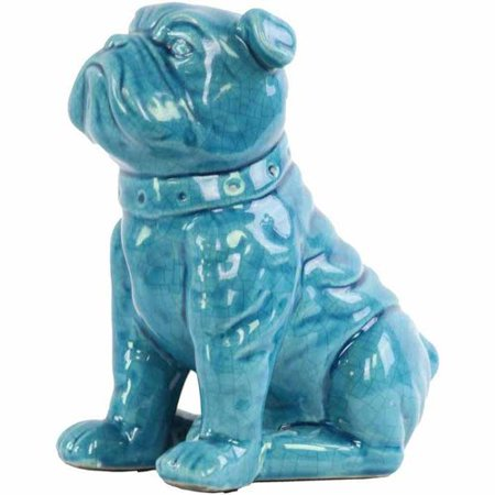 Urban Trends Collection: Ceramic Dog Figurine, Gloss Finish, Turquoise