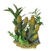 Blue Ribbon Exotic Environments Branch Coral with Plants Aquarium Ornament for Aquarium Decoration