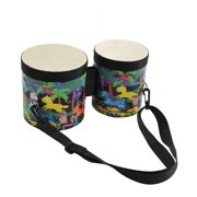 Sunisery 2 In 1 Kids Percussion Instrument Christmas Bongo Drum with Drumsticks Multi-color A