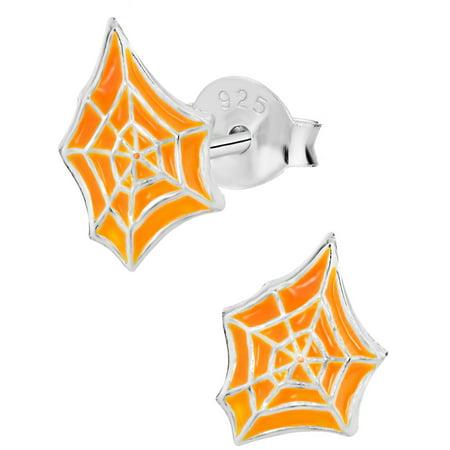 Hypoallergenic Sterling Silver Orange Halloween Spider Web Costume Stud Earrings For Kids  Nickel Free
