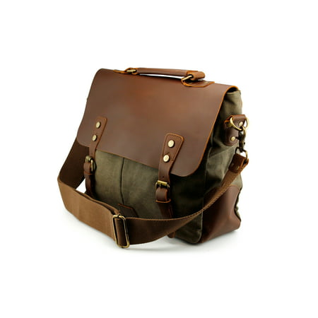 f39fa18e27e7 Men s Vintage Canvas Leather Satchel School Military Messenger Shoulder Bag  Travel Bag - Khaki - Walmart.com
