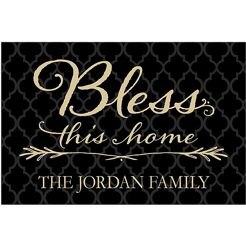 Rectangle Bless This Home Personalized Doormat