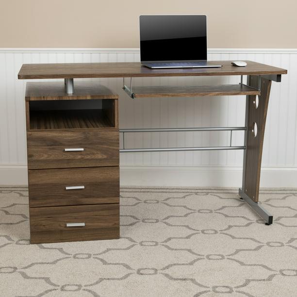 Flash Furniture Rustic Walnut Desk With, Flash Furniture Computer Desk With 3 Drawer Pedestal