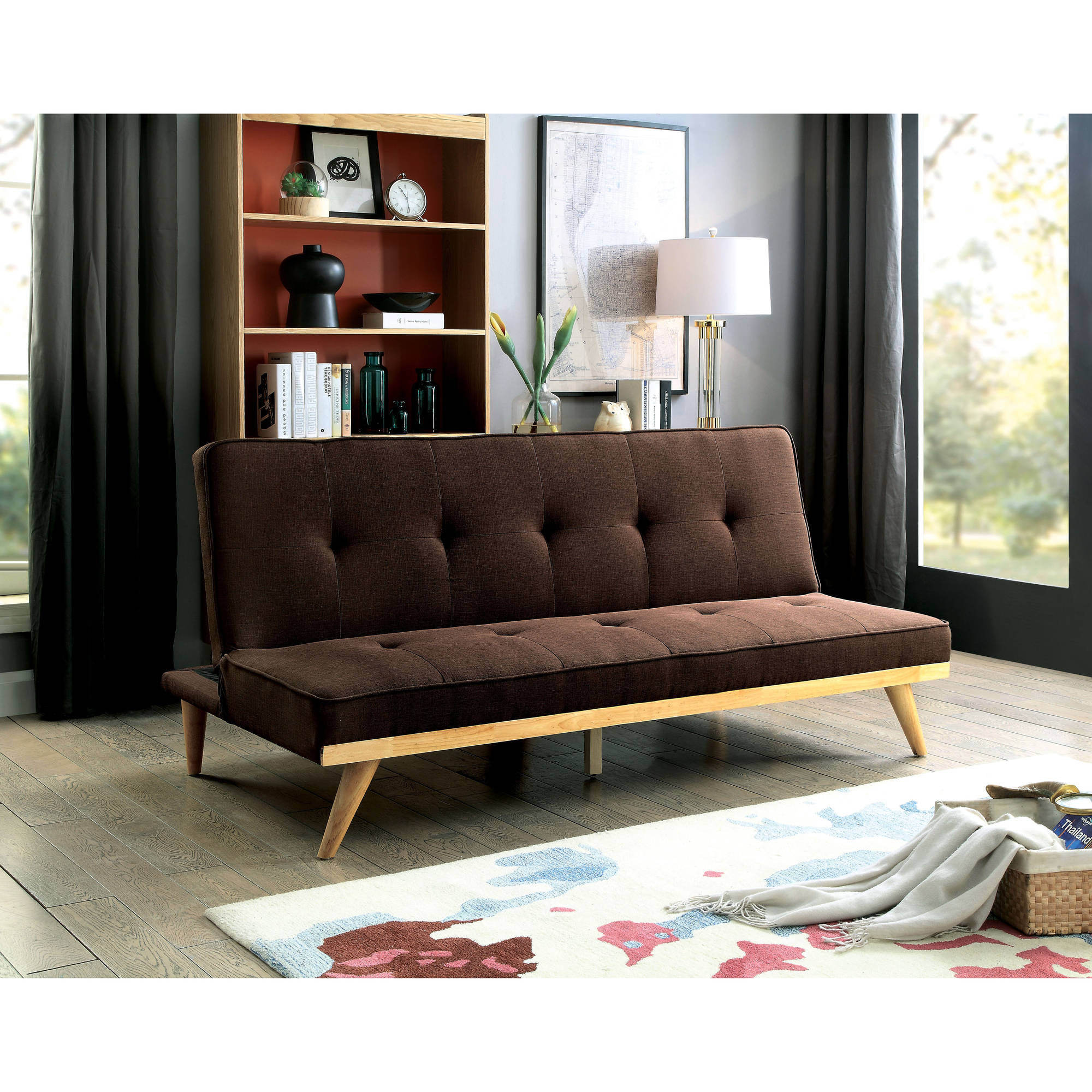 Furniture of America Spates Mid-Century Futon, Multiple Colors