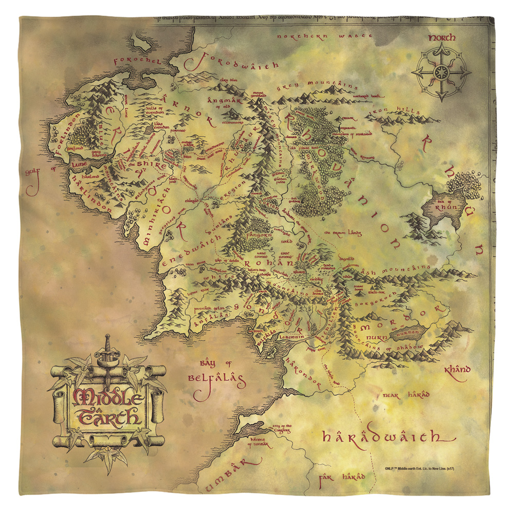 Lord Of The Rings Middle Earth Map Bandana (White, 22x22)