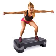 "Jaxpety 27"" Fitness Aerobic Stepper Height Adjustable Exercise Step Riser Trainer, Black & Gray"