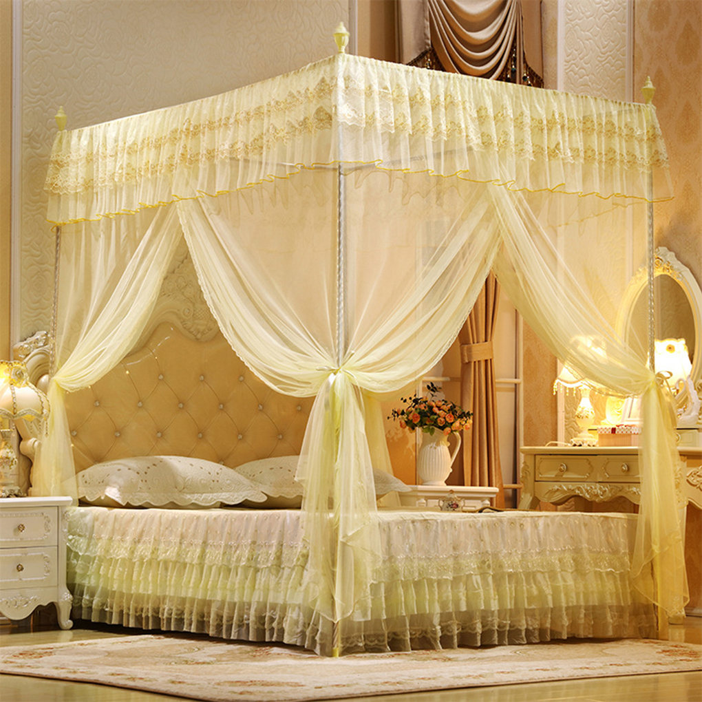 - Ustyle Three-Door Open Princess Mosquito Net Double Bed Curtains