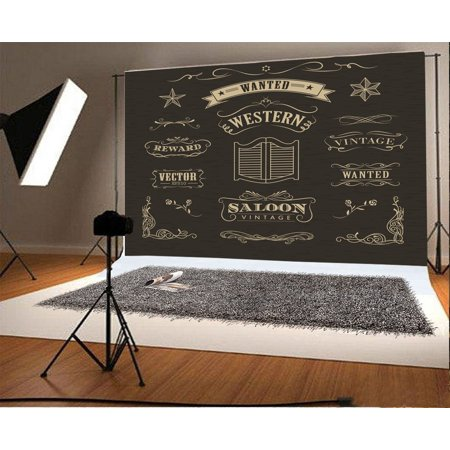 HelloDecor Polyster 7x5ft Backdrop Photography Background Western Hand Drawn Banners Vintage Badge Black Background Western Saloon theme Retro Backdrop Photo Shooting Studio - Western Backdrops