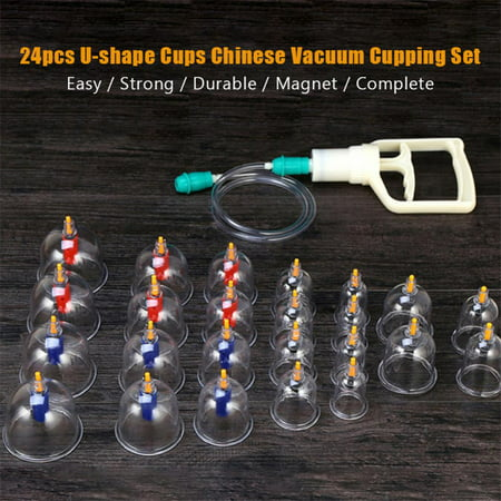 HURRISE 24pcs U-shape Cups Chinese Vacuum Cupping Set Massage Therapy Suction Acupuncture, Chinese Vacuum Cupping Set,Cupping Set,Vacuum Cupping Set