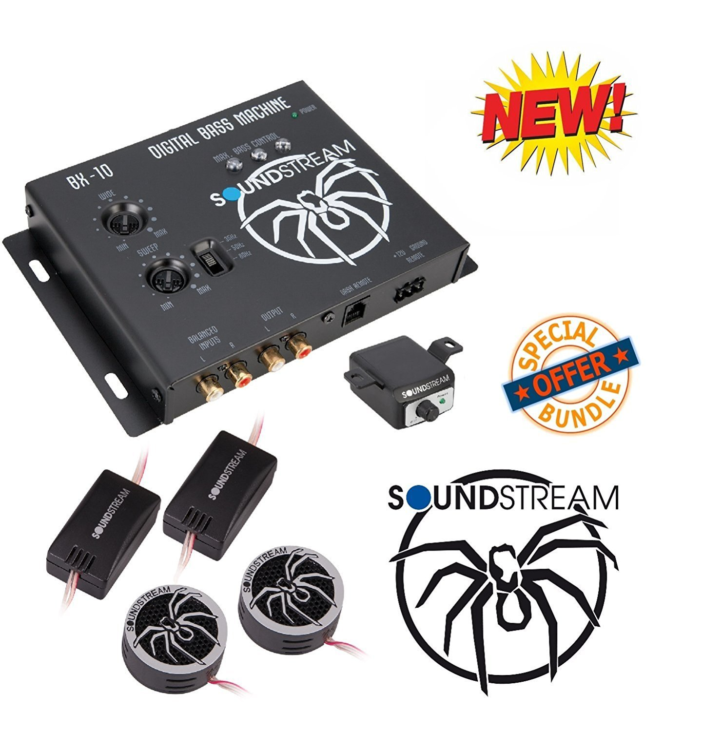 """Soundstream BX-10 Digital Bass Reconstruction Processor with Remote W/ Soundstream TWT.5 1"""" TWT Series PEI Dome Tweeters"""