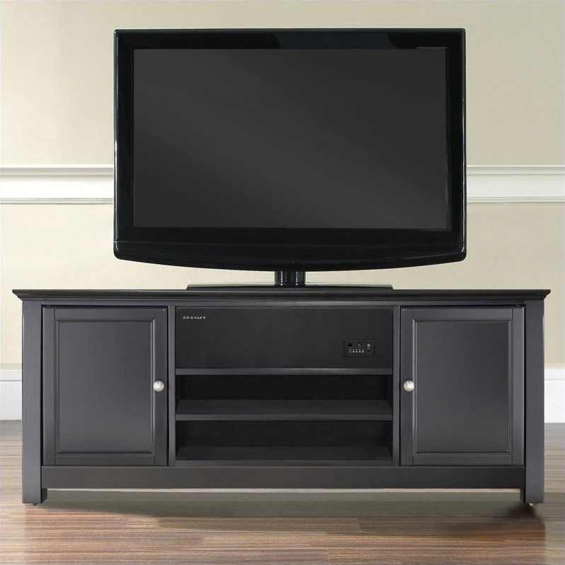 "Crosley Furniture 48"" TV Stand in Black with Sound Bar"