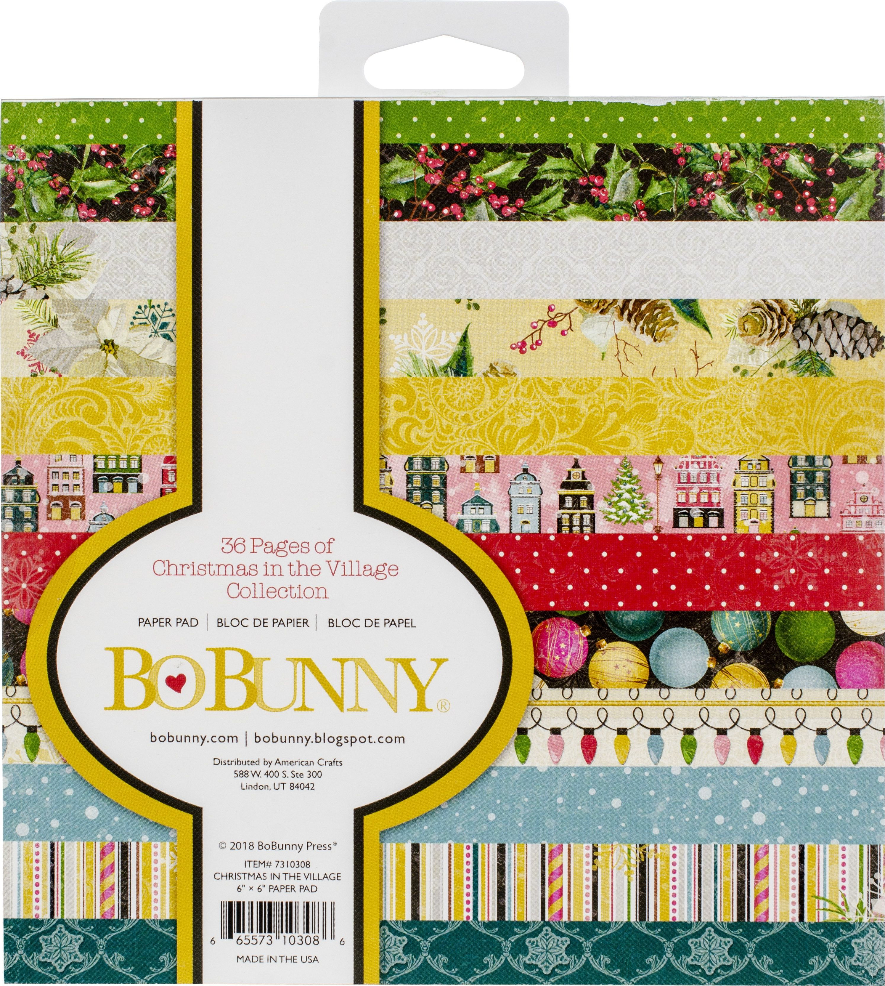 """BoBunny Single-Sided Paper Pad 6""""X6"""" 36/Pkg-Christmas In The Village, 12 Designs/3ea"""