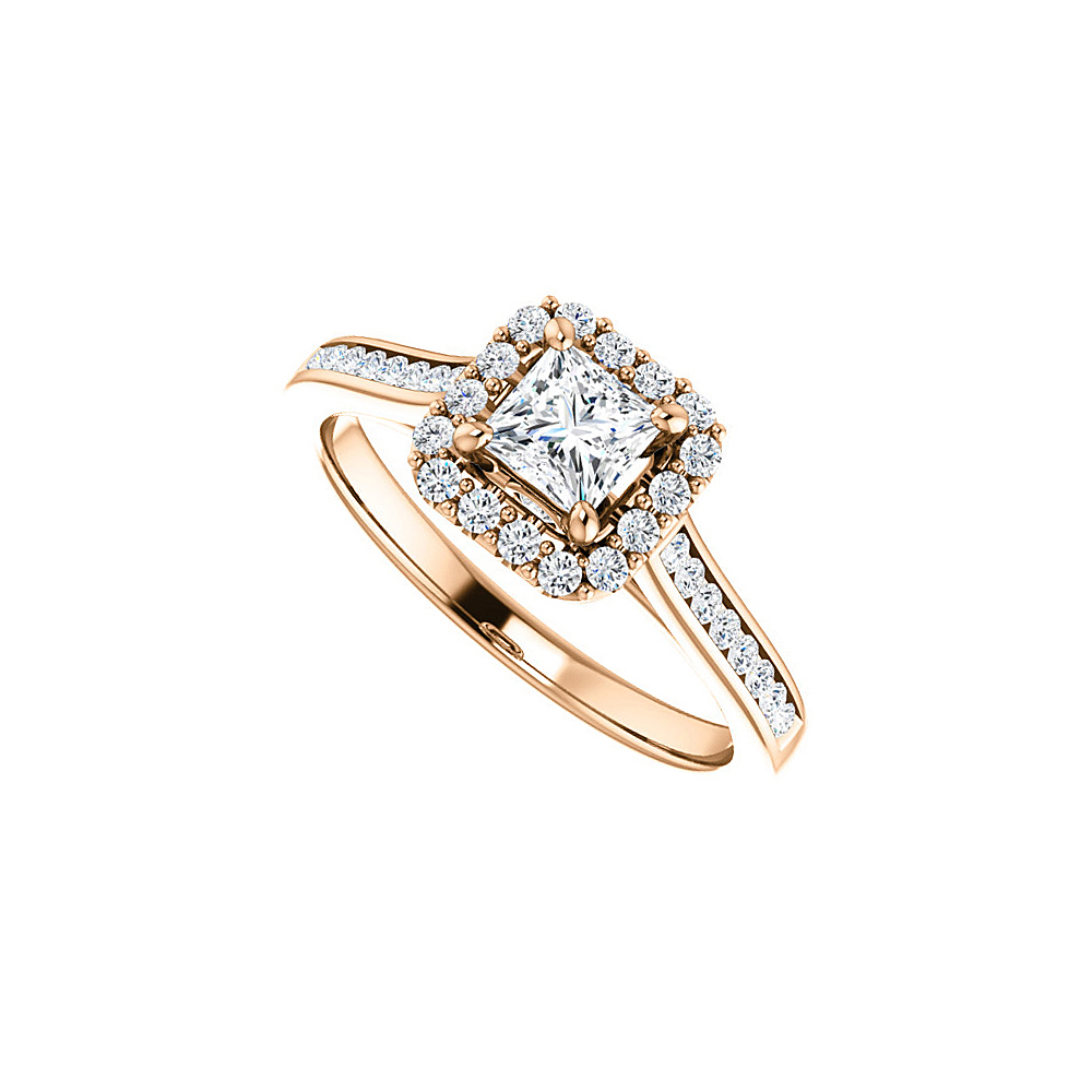 14K Rose Gold Square CZ Halo Style Ring For Your Love - image 2 of 2