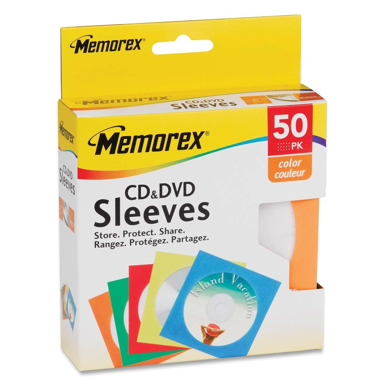 Memorex CD/DVD Paper Sleeves, 50-Pack, Assorted Colors