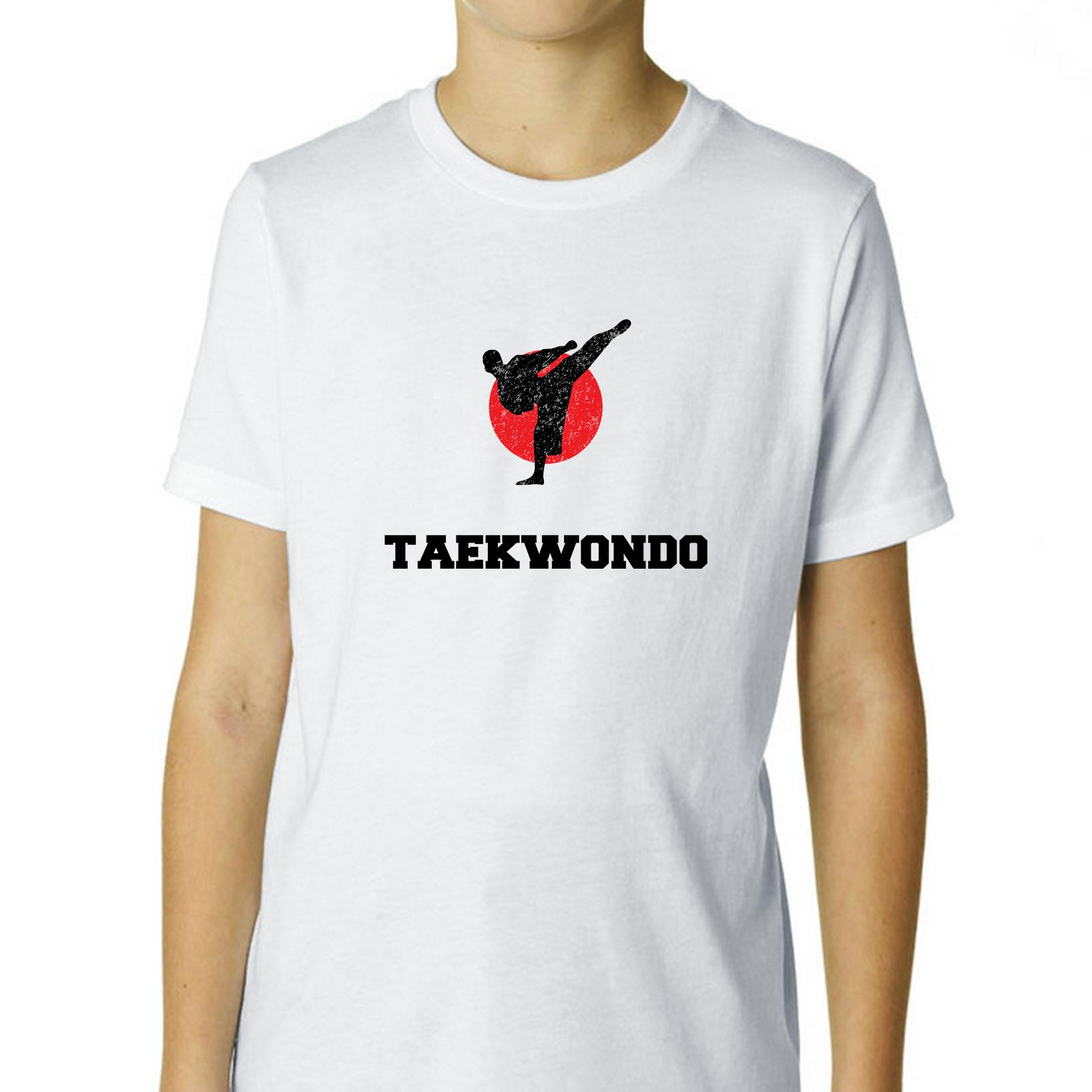 Japan Olympic - Taekwondo - Flag - Silhouette Boy's Cotton Youth T-Shirt