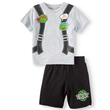 80s Outfit Male (Teenage Mutant Ninja Turtles T-Shirt & Shorts, 2pc Outfit Set (Toddler)