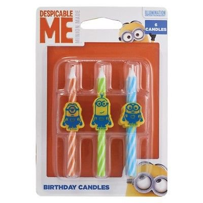 Minions Despicable Me Birthday Candles 6 Count - National Cake - Minion Cake Supplies