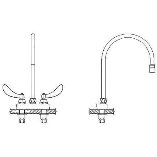 Delta 27C4954-R7 Commercial Double Handle Ceramic Disc Lavatory Faucet with Gooseneck Spout and Vandal Resistant Blade Handles, Chrome