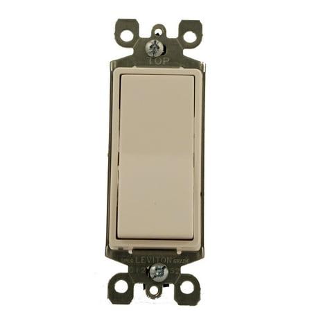 Off Decora Style Rocker (Leviton 5611-W 15 Amp, 120/277 Volt, Decora Rocker Lighted Handle, Illuminated Off Single-Pole AC Quiet Switch, Residential Grade, Non-Grounding,)