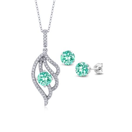 3.17 Ct Round Blue Apatite 925 Sterling Silver Pendant Earrings Set