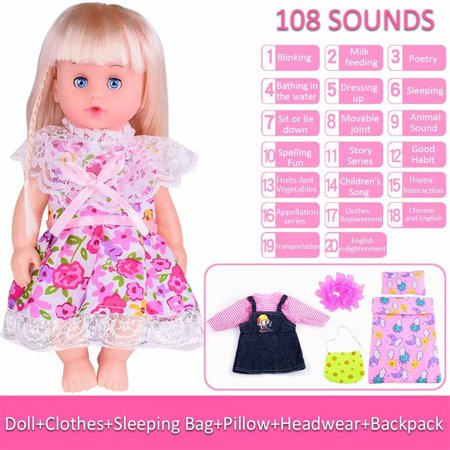 Clearance! Baby Girls Looks Lifelike Doll Toy Kids Simulation Baby Doll 108 Sound Model Doll - Toddler Girls Toms